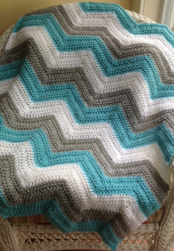 Crochet Chevron Zig Zag Ripple Striped Baby Blanket Afghan