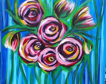 Abstract colourful floral artwork canvas wallart