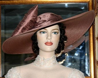 "Mocha Brown Kentucky Derby Hat, Ascot Hat, Edwardian Hat Southern Belle Tea Hat 22"" Wide Brim Hat - Titanic"
