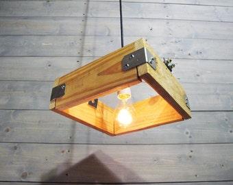 "10"" or 12"" or 15"" Sqaure Pallet Porcelain Socket - Reclaimed Pendant Light - Upcycled Industrial Pallet Wood Ceiling Light"