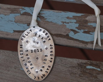 Personalized Ornament on Vintage Silver Plate SPOON names of grandkids or family members