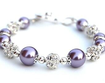 Lavender Pearl Bracelet, Bling Jewelry, Purple Bridesmaid Jewelry, Bridesmaid Presents, Purple Wedding, Spring Wedding, Pastel Wedding