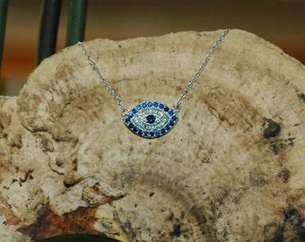 Evil Eye Necklace/Pendant, CZ evil eye, Gift for her, Good Luck charm