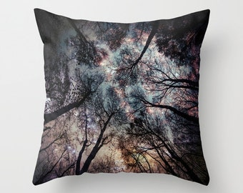Trees Throw Pillow, Starry Night Pillow, Woods Pillow, Woodland, Night Sky , Magical, Moon, Stars, High, Dorm, looking up, fantasy, nature