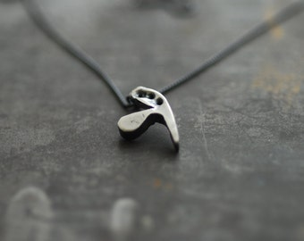 Small Heart Necklace, Black Heart Pendant, Sterling Silver, Going off to College Gift
