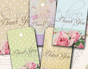 Printable Thank You SHABBY FLORAL TAGS collage Digital Images  -printable download file- Digital Collage Sheet Scrapbook - Junk Journal