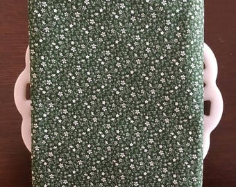 Green and White Floral Cloth Napkin