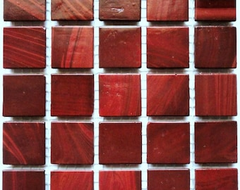 """20mm (3/4"""") Wine Red with Black Brown Marbling Glass Mosaic Tiles//Oxblood Red//Mosaic Supplies//Crafts//Mosaic Tiles"""