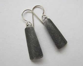 Oxidized Silver Earrings textured modern geometric hand fabricated (E6)