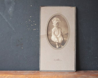 Antique Photograph of Fancy Baby with Huge Bonnet, Antique Photo, Antique Cabinet Card, Paper Epehemera