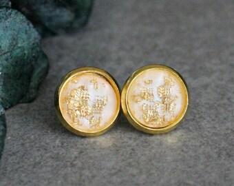 White Stud Earrings, White Earrings, Gold Stud Earrings, Gold Earrings, White Post Earrings, White and Gold Earrings, Gold Glitter Earrings