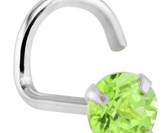 Peridot (August) - 14KT White Gold Nose Twist