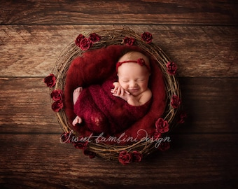 Newborn Digital Background - Natural Nest with Red Roses