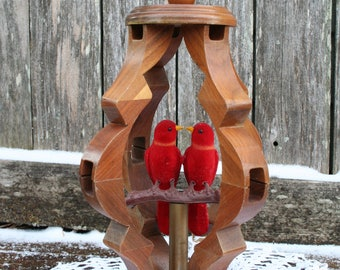 Lovely Hanging Wood Featuring Red Birds On Perch