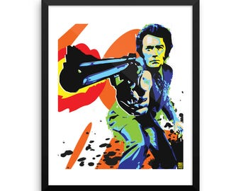 16 x 20 Dirty Harry Clint Eastwood Pop Art Wall Art Home Decor Print Framed