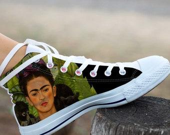 Frida Kalho, Frida Kalho high top, Frida Kalho converse, Frida Kalho shoes, Frida Kalho sneaker, Painted Shoes
