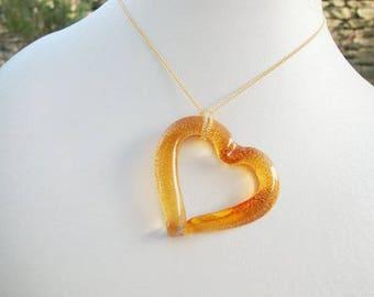 Venetian Murano Open Heart Necklace