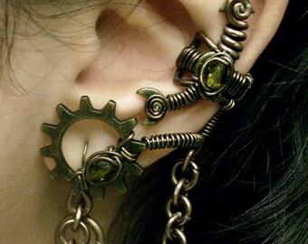 Peridot Alchemist Steampunk Ear Cuff