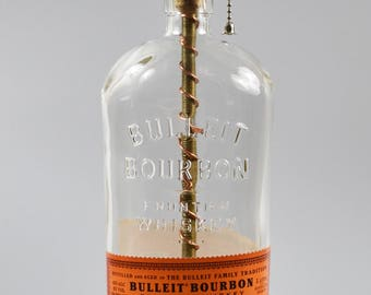 Bulleit Bourbon Bottle Lamp/handmade/ man cave/light/bourbon lamp/bottle light/liquor/bar/gifts for men/whiskey/whiskey bottle lamp