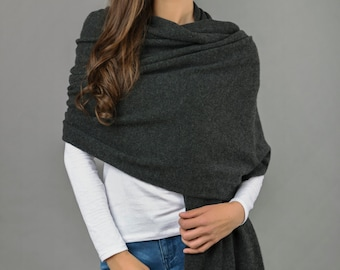 Cashmere Wrap Scarf Shawl Travelwrap Super Soft 2ply Knitted Oversize Luxury CHARCOAL GREY - Made in Italy