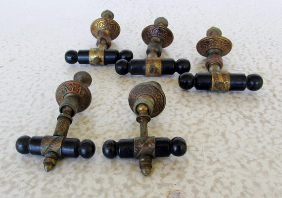 5 Rare Victorian T Bar Drop Pulls Brass And Wood Handles For Furniture  Drawer Cabinet From KTsAttic On Etsy Studio