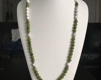 108 Mala Beads Green Jade And White Howlite Self Expression & Clarity Mala Beads.