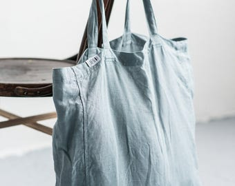 Linen tote bag, Sea green tote bag, Linen market bag, Large linen tote bag, Linen beach bag, Linen market bag