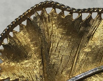 Vintage Brushed gold tone leaf nrooch pin signed BSK