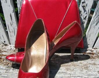 Johansen 50s Quasar Red pinup stiletto shoes and handbag set  pinup rockabilly burlesque vlv 7