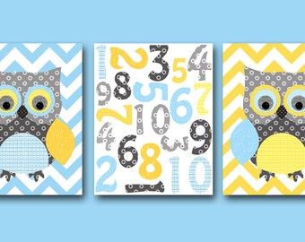 Owl Decor Numbers Nursery Numbers Baby Boy Nursery Art Print Nursery Wall Art Kids Room Kids Art set of 3 Owl Nursery Yellow Gray Blue
