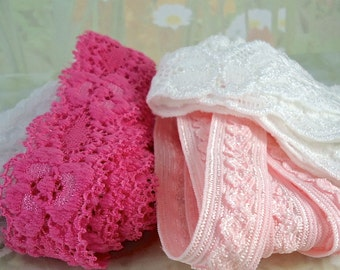 Elastic Lace Trim Stretch Ribbon Garter Multi Sets 1 yard each of 4 colors Elastic by the yard Pink, Light Pink, White, Off-White