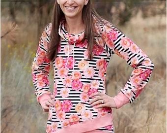 Pemberley Pullover PDF Sewing Pattern for Women: sweatshirt pattern, cowl neck pattern