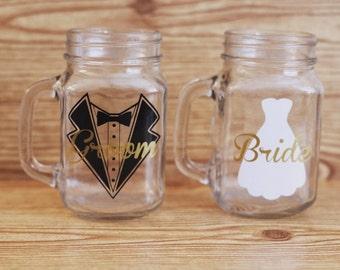Bride and groom mason jar set