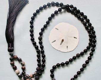 Onyx Silver Leaf Jasper Lava Rock Knotted Gemstone Mala Necklace 108 Meditation Beads Yoga Jewelry Yoga Gift