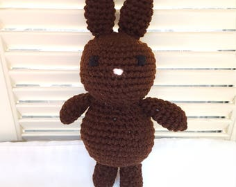 Chocolate Brown Bunny Rabbit Stuffed Animal Crochet Toy/ Amigurumi Plush Doll/ Handmade Toys/ Easter Bunny/ Gift For Kids