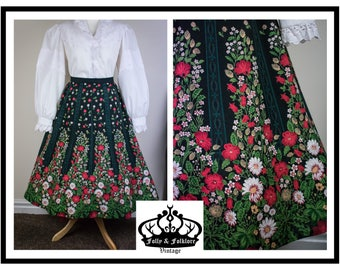 70s Folkloric Dirndl Skirt, Floral Border Print, Black, Red, White, Flared Skirt, Folk, Boho, Dolly Kei, Witchy, Bavarian, Size M / L