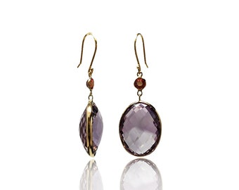 Natural 28 CTTW Pink Amethyst Red Sapphire 14K Yellow Gold Dangle Earrings