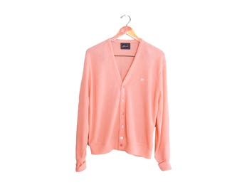 vintage cardigan / grandpa cardigan / pink cardigan / 1990s pink acrylic knit grunge cardigan Medium