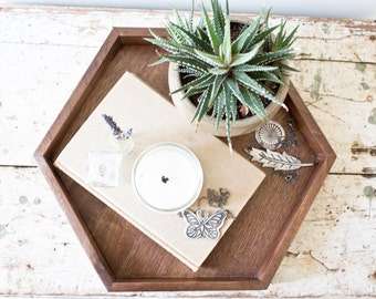 Wooden Hexagon Tray - Walnut Wood Jewelry Tray Rustic Decor Makeup Modern Geometric Tray Handmade