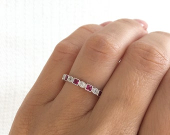 Ruby Eternity Band. July Birthstone Ring. Ruby Antique Style Eternity Band. Art Deco Ring. Ruby Simulant Sterling Silver Vintage Ring.