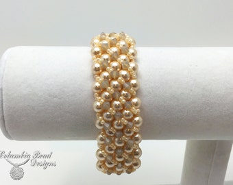 Swarovski Pearl Bracelet, light gold