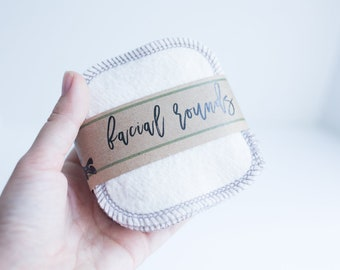 """Organic  French Terry Rounds + Organic Cotton Thread - Make-up Remover - Facial Rounds - 4"""" Face Wipes Choose your quantity DOVE GREY THREAD"""