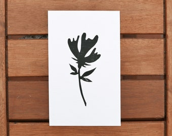 "Artprint ""flower"" 15 x 9, 4cm black and white engraving and printing handmade botanical nature art leaf spring plant made in france"