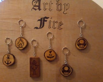 Pyrography Key Rings Of varying styles