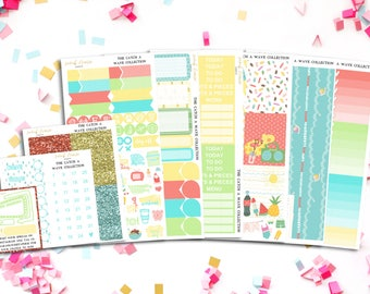 FINAL SALE Catch A Wave Weekly Sticker Kit - to fit ECLP, Happy Planner and more!