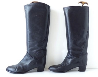 Women's Vintage MADE IN ITALY Knee High Pull On Slouch Black Real Leather Boots Size UK7 US8