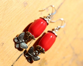 Free shipping - ceramic red dangle butterfly earrings