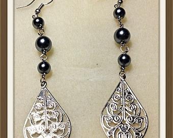 MWL long dangle pearl earrings