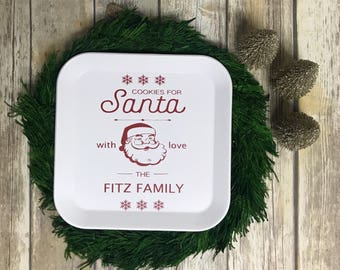 "Personalized Plate: Family Christmas Cookies for Santa  10.5"" Square"