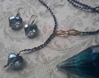 Blue heart jewelry set
